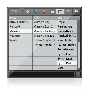 Maschine Mikro MK2瀏覽器和音色庫